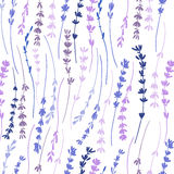 Lavender ζωηρόχρωμο άνευ ραφής διανυσματικό υπόβαθρο σύστασης λουλουδιών σχεδίων συρμένο χέρι γραφικό, σκίτσο στο υπόβαθρο Στοκ Φωτογραφία