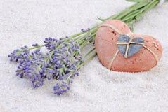 lavender καρδιών Στοκ φωτογραφία με δικαίωμα ελεύθερης χρήσης
