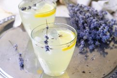 Lavender λεμονάδα, αναζωογονώντας ποτό στοκ εικόνες
