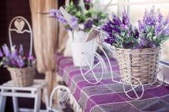 Lavender λουλούδια στη μικρή διακοσμητική στάση δοχείων ποδηλάτων στο windowsill Εσωτερικό σχέδιο άνοιξη του δωματίου στοκ φωτογραφία με δικαίωμα ελεύθερης χρήσης