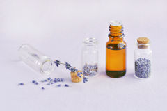 Lavender πετρέλαιο και ξηρά λουλούδια Στοκ εικόνες με δικαίωμα ελεύθερης χρήσης