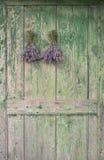 Lavender στην ξύλινη πόρτα στοκ εικόνα με δικαίωμα ελεύθερης χρήσης