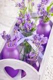 Lavender στο ντεκόρ μπουκαλιών στοκ εικόνα