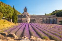 Lavender τομείς με το μοναστήρι Senanque στην Προβηγκία, Gordes, Γαλλία Στοκ Φωτογραφίες