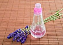 Lavender. Flower with dispenser  on wood Royalty Free Stock Photography