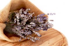 Lavender. Bouquets of lavender placed in a canvas bag royalty free stock photos
