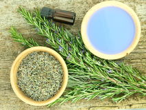 Lavender with aroma oil Stock Photo