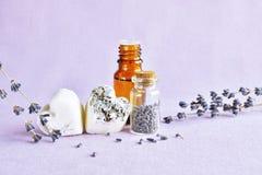 Lavender aromatherapy σύνολο Στοκ φωτογραφίες με δικαίωμα ελεύθερης χρήσης