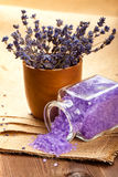 Lavender aromatherapy - bath salt Royalty Free Stock Images