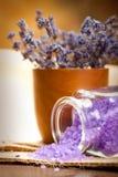 Lavender aromatherapy - bath salt Royalty Free Stock Photos