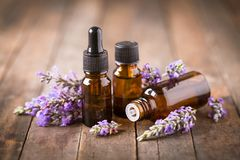 Lavender aromatherapy. On the wooden table Stock Image