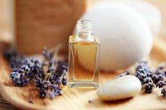 Lavender aromatherapy oil. Bottle of lavender aromatherapy oil - beauty treatment Stock Photography