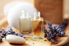 Lavender aromatherapy oil. Bottle of lavender aromatherapy oil - beauty treatment Stock Photos