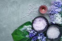 Lavender aromatherapy Spa with candle and rock spa. Thai Spa relax Treatments and massage concrete background. Healthy Concept. Top view and Copy space for royalty free stock photo