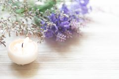Lavender aromatherapy Spa with candle. Thai Spa relax Treatments and massage concrete background. Healthy Concept. Top view and Copy space for text stock photo