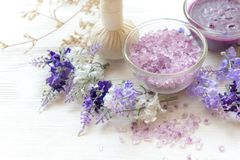 Lavender aromatherapy Spa with candle. Thai Spa relax Treatments and massage white background. Healthy Concept. Select and soft focus stock photography