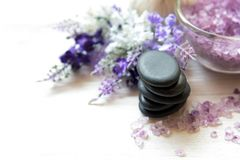 Lavender aromatherapy Spa with rock stone spa. Thai Spa relax Treatments and massage white background. Healthy Concept. select and soft focus royalty free stock image