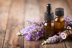 Lavender aromatherapy. On the wooden table royalty free stock images