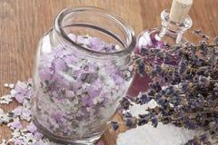 Lavender aromatic sea salt Stock Photos