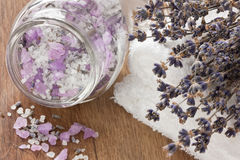 Lavender aromatic sea salt Royalty Free Stock Photography