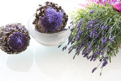 Lavender and Artichokes Still Life Royalty Free Stock Photo