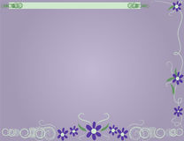 Lavender Background. Lavender flowers ans green swirls bordering a lavender background Royalty Free Stock Photo