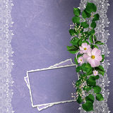 Lavender background with floral border and card Stock Image