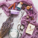 Lavender background. Spa and perfume theme Stock Photos