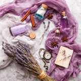Lavender background. Spa and perfume theme Royalty Free Stock Images