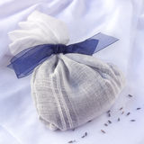 Lavender Bag. Bag of dried lavender, tied with satin bow royalty free stock photography