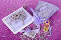 Lavender bag, essential oil and organic soap with dry flowers Royalty Free Stock Image