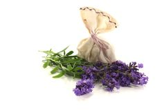 Lavender bag with flowers Stock Image