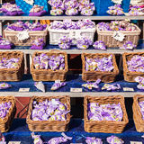 Lavender bags and little heart of cloth hanging on line. Stock Photo