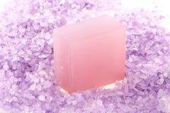 Lavender bar soap and salt Stock Images