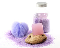 Lavender bar soap and salt Stock Photo