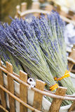 Lavender in basket Royalty Free Stock Photography
