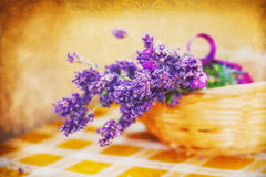 Lavender in a basket with vintage texture Royalty Free Stock Images