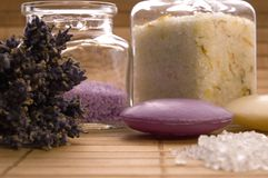 Lavender bath items. royalty free stock image