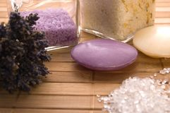 Lavender bath items. Stock Photos