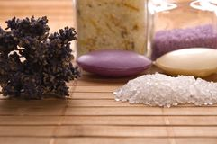 Lavender bath items. royalty free stock photography