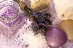 Lavender bath items Royalty Free Stock Images