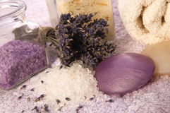 Lavender bath items Stock Image
