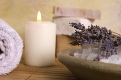 Lavender bath items. aromatherapy Royalty Free Stock Photo