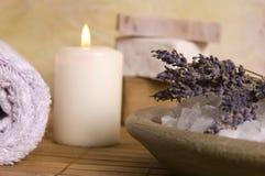 Lavender bath items. aromatherapy Royalty Free Stock Photo