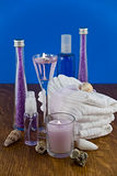 Lavender bath products. A collection of lavender bath  and wash products Royalty Free Stock Photography