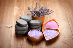 Lavender bath salt Royalty Free Stock Images