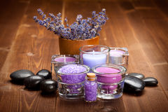 Lavender bath salt Royalty Free Stock Photos