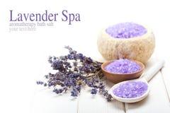 Lavender bath salt. On white background Royalty Free Stock Photos