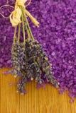 Lavender with bath salt Stock Photos