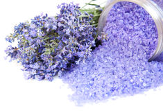 Lavender bath salt Royalty Free Stock Image